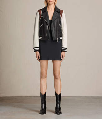 AllSaints Panel Baseball Balfern Leather Jacket