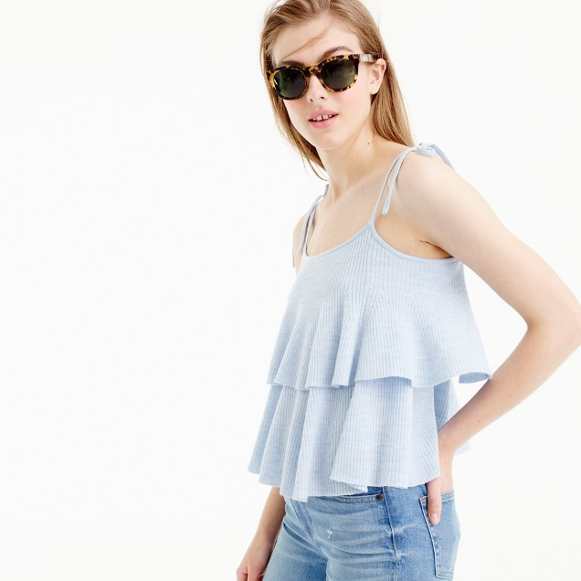 Tiered top in merino wool