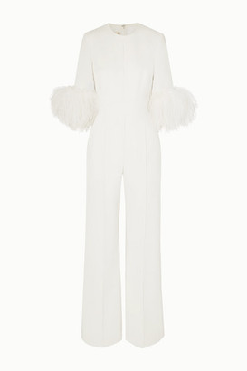 Elie Saab Feather-trimmed Cady Jumpsuit - White