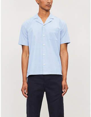 9df8b706f Folk Buttoned-down short-sleeved linen and cotton-blend shirt