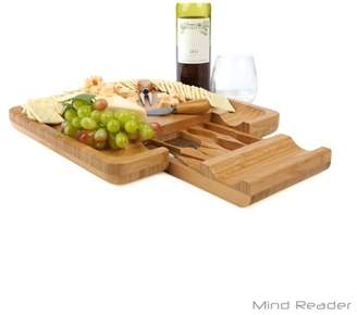Mind Reader Bamboo Cheese Board with Cutlery Set, Wood Charcuterie Platter and Serving Meat Board with Slide-Out Drawer with 4 Stainless Steel Knife and Server Set