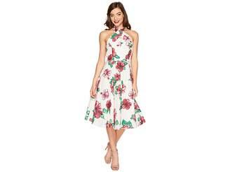 Unique Vintage Halter Flora Swing Dress Women's Dress