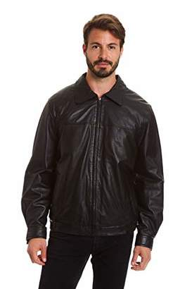Excelled Men's Big and Tall Lambskin Shirt Collar Bomber Jacket