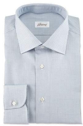 Brioni Textured-Check Long-Sleeve Dress Shirt, Light Blue