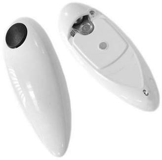 Silencelight White Plastic One Touch Automatic Electric Can Tin Bottle Opener &Bottle Wrench No Hands Battery Operated Stock Offer