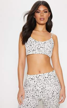 d8c18becfd9b5 PrettyLittleThing White Chiffon Floral Print Ultimate Strappy Crop Top