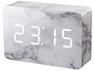GINGKO Brick Click Clock - Marble/White LED