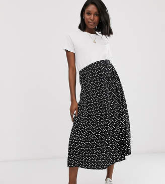 Asos DESIGN Maternity button front midi skirt with pockets in mono print