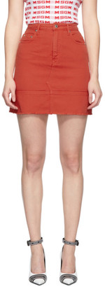 MSGM Red Denim Miniskirt