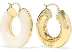 Noir Arc Beam 14-Karat Gold-Plated Resin Hoop Earrings