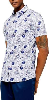 Topman Skinny Fit Floral Short Sleeve Button-Up Shirt