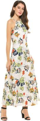 Meaneor Women's Halter Neck Sleeveless Print Maxi Dress