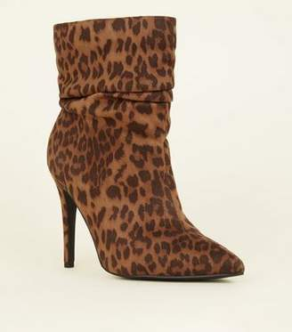 New Look Wide Fit Tan Leopard Print Stiletto Slouch Boots