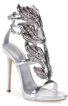 Giuseppe Zanotti Crystal-Embellished Metallic Leather Wing Sandals