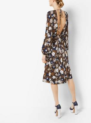 Michael Kors Floral Satin-Jersey Plunge Dress