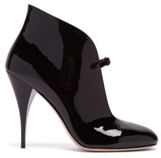Miu Miu Patent Leather Ankle Boots - Womens - Black