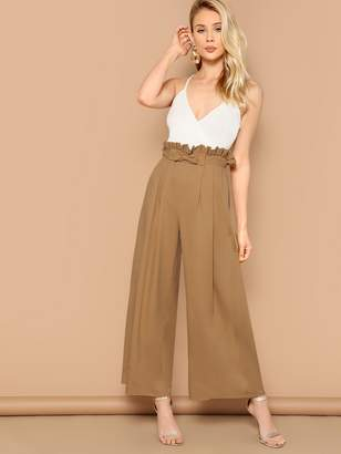 Shein Paperbag Waist Bow Front Wide Leg Pants