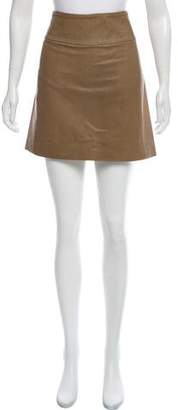 Brunello Cucinelli Leather-Trimmed Mini Skirt