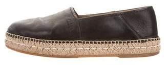 Prada Round-Toe Leather Espadrilles