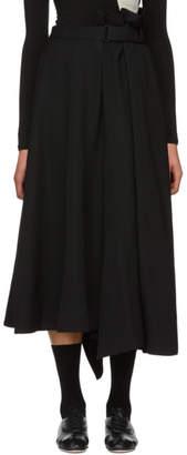 Yohji Yamamoto Black Wool Asymmetric Skirt