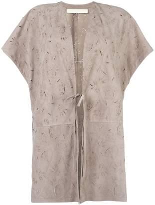 Drome tied fastening shortsleeved coat