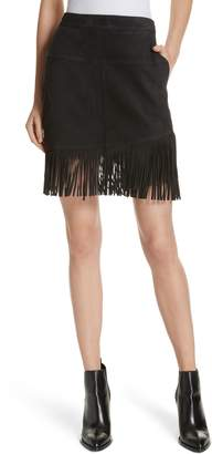 Frame Fringe Hem Leather Skirt