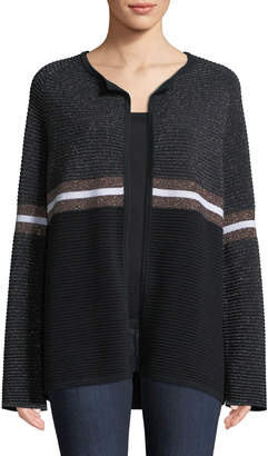Neiman Marcus Cashmere & Metallic Ribbed Ottoman Knit Striped Cardigan
