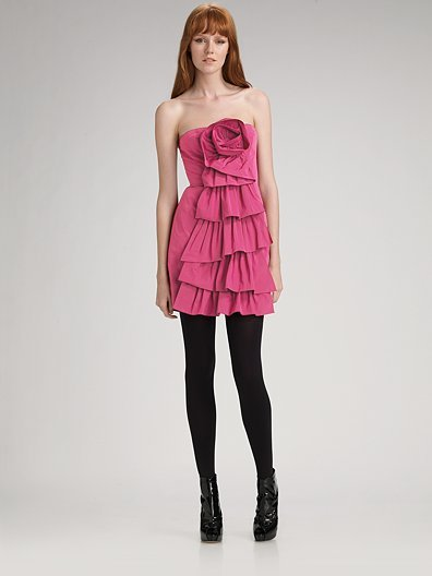 BCBGMAXAZRIA Rosette Ruffle Cocktail Dress