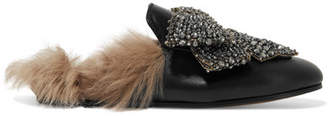 Gucci Princetown Shearling-lined Embellished Leather Slippers - Black