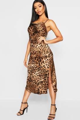 boohoo Strappy Leopard Print Tie Waist Midi Slip Dress