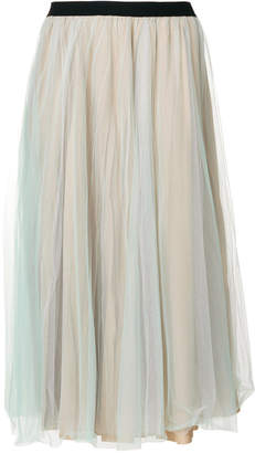 Nude mid-length tulle skirt