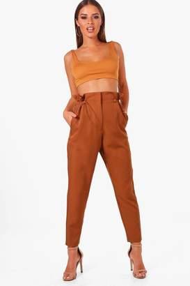 boohoo Petite Drawstring Waist Woven Trousers