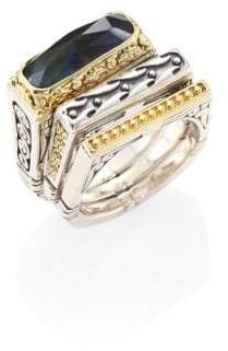 Konstantino Cassiopeia Doublet Spectrolite, 18K Yellow Gold, & Sterling Silver Ring Set
