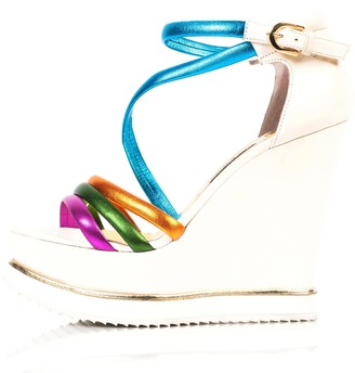 Kim Kwang Colourful Sporty Wedge Sandals White