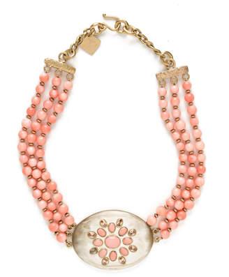 Ashley Pittman Triple-Strand Coral & Light Horn Necklace