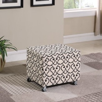 "BEIGE Ore International 17"" in Moroccan Heart Black Stencil Filing Storage Ottoman Seat with Industrial Caster Wheels"