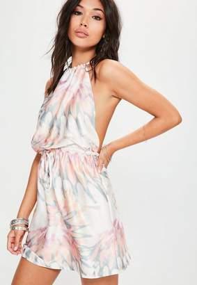 Missguided Pink Pastel Tie Dye Satin Halterneck Dress
