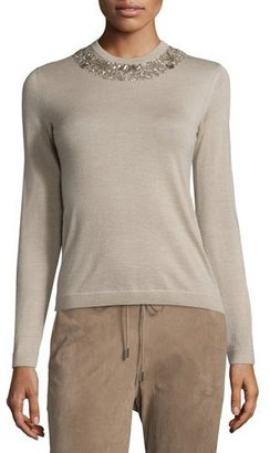 Ralph Lauren Collection Embellished Jewel-Neck Cashmere Sweater, Oatmeal $1,650 thestylecure.com