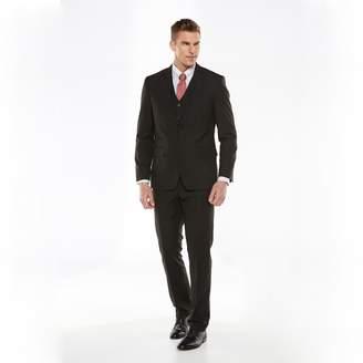 Savile Row Big & Tall Striped Black Suit Jacket