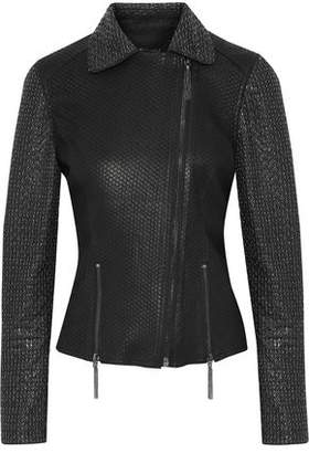 Elie Tahari Nancy Ring-Embellished Snake-Effect Leather Biker Jacket