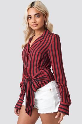 NA-KD Tied Waist Striped Shirt Beige