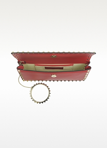 Valentino Rockstud Red Leather Clutch