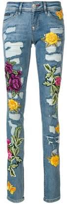 Philipp Plein rose patch distressed skinny jeans