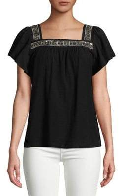 Vince Camuto Embellished Cotton Blouse
