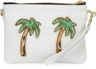 Tea & Tequila Palm Tree Chain Leather Clutch Bag, White