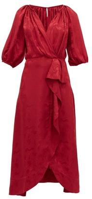 Saloni Olivia Wrap Front Silk Blend Jacquard Midi Dress - Womens - Burgundy