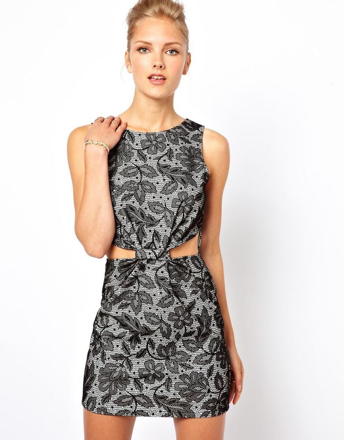 Love Cut Out Flocked Lace Dress