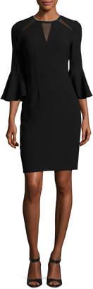 Elie Tahari Garcia Bell-Sleeve Sheath Dress w/ Mesh Inserts, Black