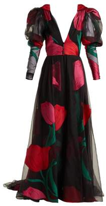 Carolina Herrera Floral Fil CoupA Organza Gown - Womens - Black Red