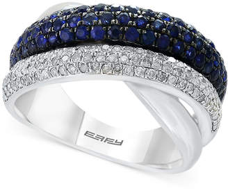Effy Final Call by Sapphire (1-1/5 ct. t.w.) & Diamond (3/8 ct. t.w.) Ring in Sterling Silver